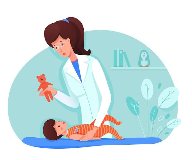 Arzt misst temperatur des babys zeigt spielzeugbären