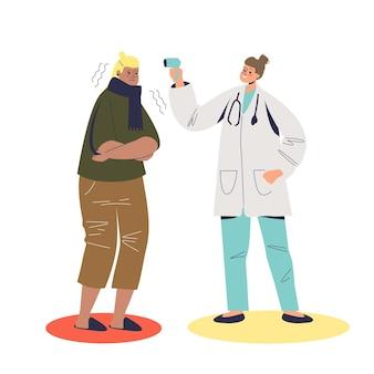 Arzt mit infrarot-thermometer zur messung der körpertemperatur
