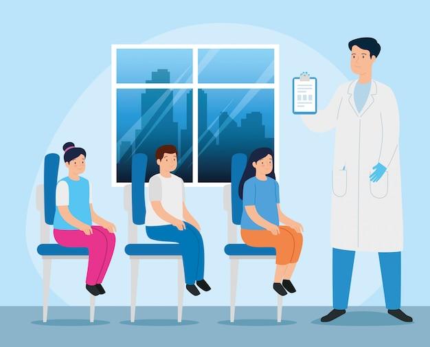 Arzt mit kindern im sprechzimmer