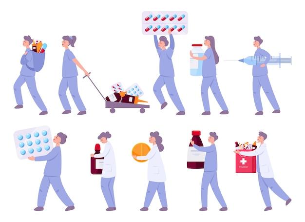 Arzt mit medikamenten. männlicher und weiblicher arzt in krankenhausuniform, die pillen in flasche und blisterpackung für krankheitsbehandlung hält.