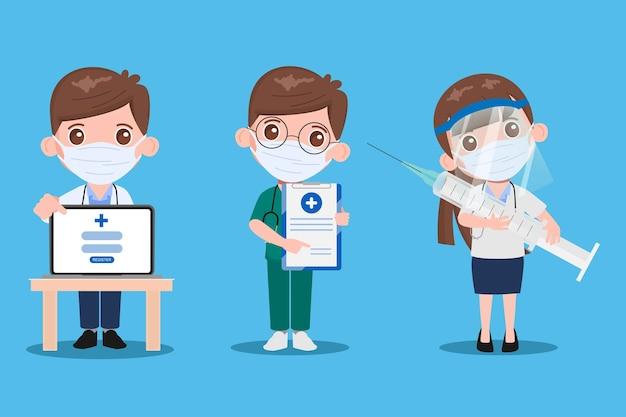 Arzt mit medizinischer gesichtsmaske und spritze zur impfung