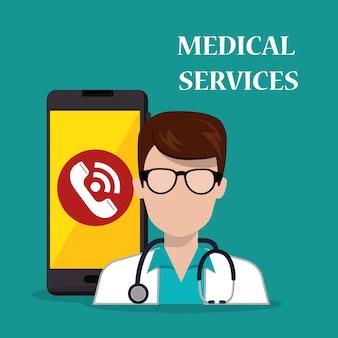 Arzt mit smartphone medizinische dienste app