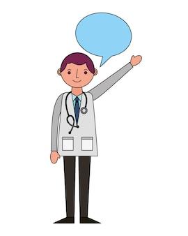 Arzt mit spracheblasenvektor-illustrationsdesign