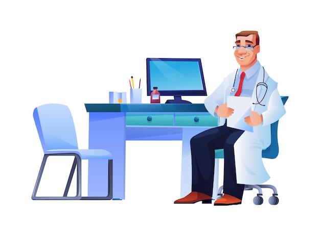 Arzt mit stethoskop am arbeitsplatzrechner