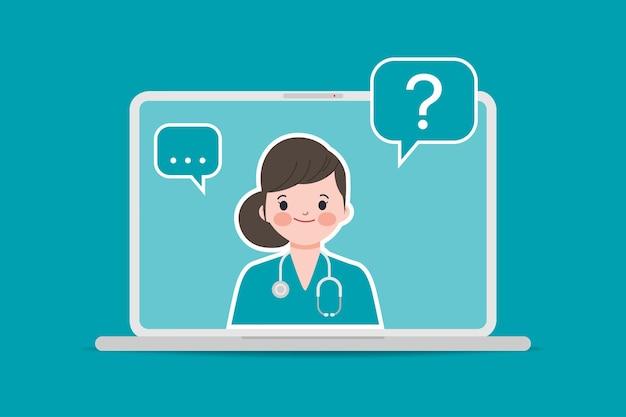 Arzt mit stethoskop medizinische buchungsanwendung mit laptop-ui-design. online-arzt und krankenhaus.