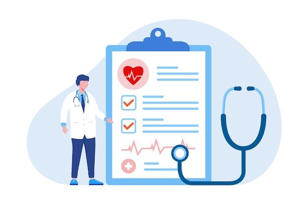 Arzt mit stethoskop und form, flaches vektorillustrationsbanner des krankenversicherungskonzepts und landing page