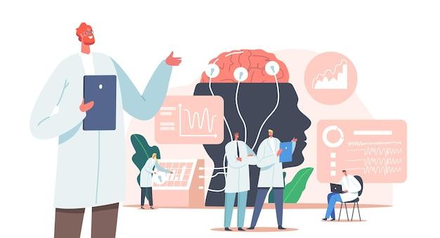Arzt neurologe, neurowissenschaftler, arzt charaktere studieren gehirn verbunden mit display mit eeg-indikation, neurologie