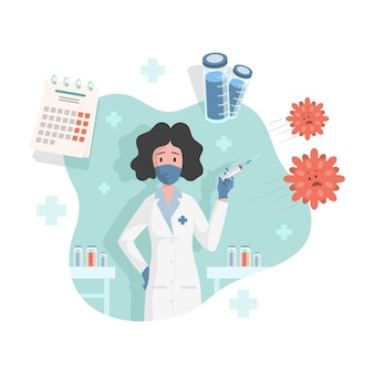 Arzt oder krankenschwester, die eine spritze mit einem impfstoff gegen coronavirus covid hält