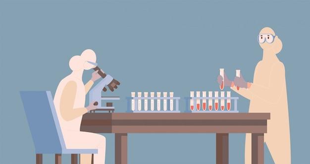 Arzt oder krankenschwester im schutzanzug, der impfstoff gegen flache abbildung des coronavirus entwickelt.