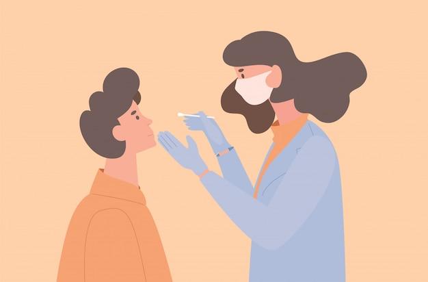 Arzt oder krankenschwester in uniform und schutzmaske nehmen einem patienten einen tupfer für die flache abbildung der coronavirus-probe.