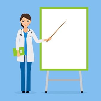 Arzt oder krankenschwester mit flipchart-board