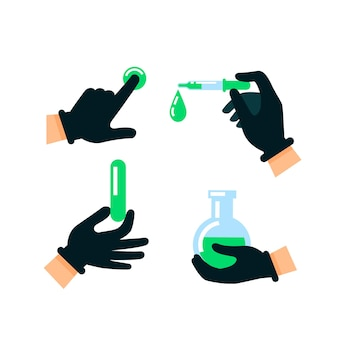 Arzt oder wissenschaftler geben latexhandschuhe ab
