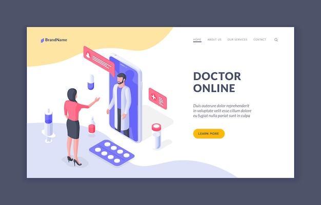 Arzt online isometrische vektor-banner