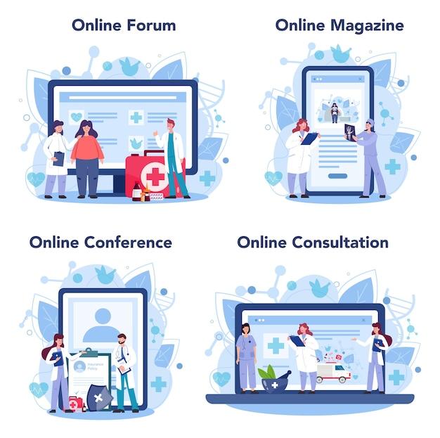 Arzt online-service oder plattform-set. gesundheitswesen, moderne medizinische behandlung, expertise, diagnose. online-forum, magazin, konferenz, beratung