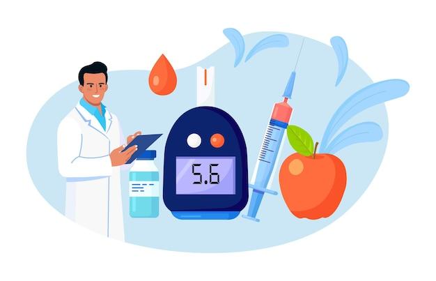 Arzt testet blut auf zucker und glukose, verwendet glucometer für hypoglykämie oder diabetes-diagnose. arzt mit labortestgerät, spritze und fläschchen, insulin