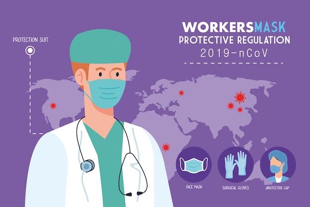 Arzt trägt medizinische maske gegen 2019 ncov, mit schutzregulierung prävention coronavirus, pandemie-konzept