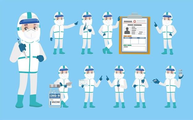 Arzt trägt schutzanzug zur bekämpfung des coronavirus