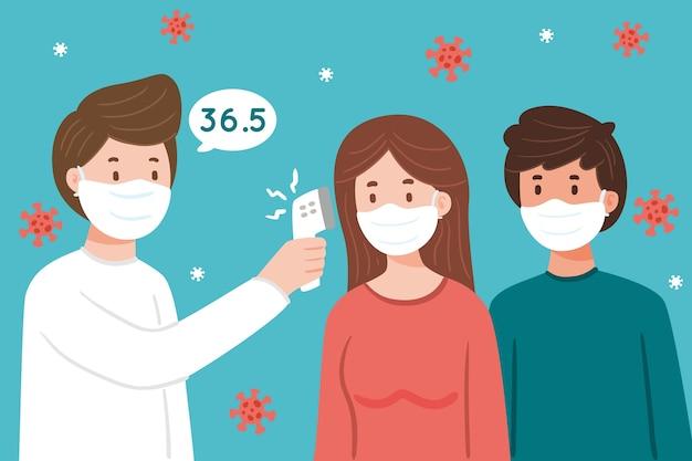 Arzt überprüft die körpertemperatur