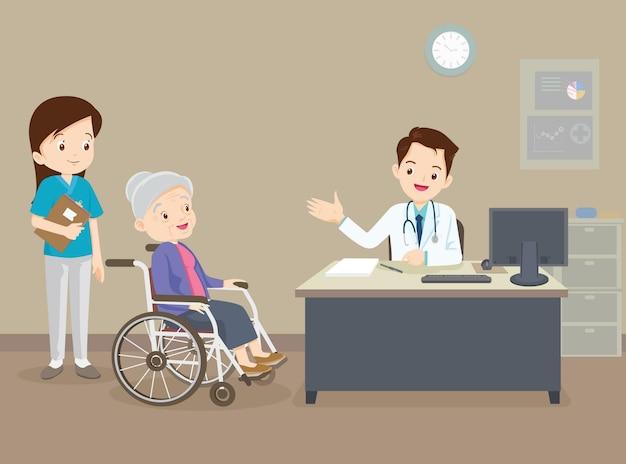 Arzt und ältere frau auf rollstuhl