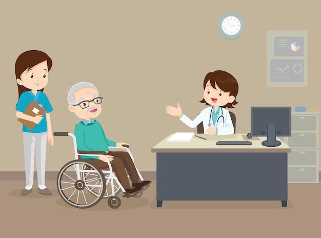 Arzt und älterer mann im rollstuhl. doktor, der auf seinem rollstuhlpatienten prüft