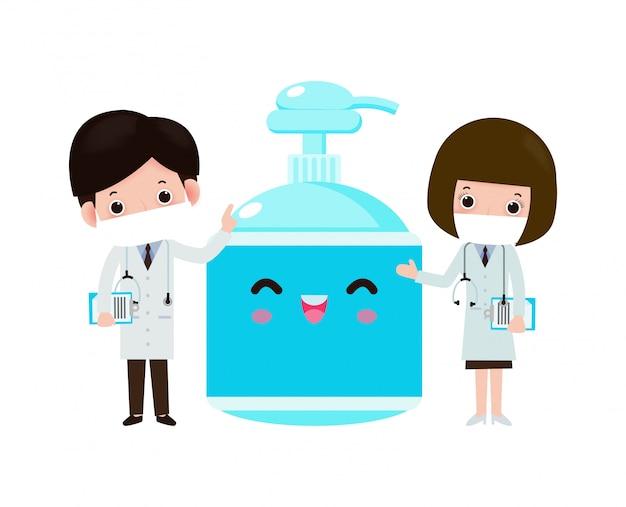 Arzt und alkoholgel, schutz gegen viren und bakterien, gesundes lebensstilkonzept lokalisiert auf weißer hintergrundillustration