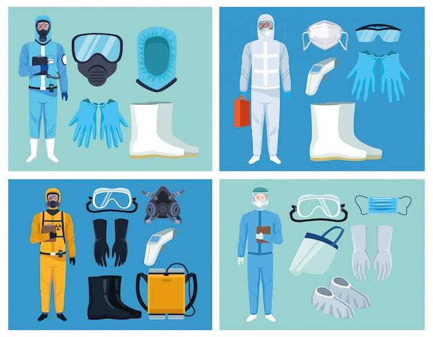 Arzt und biosicherheitsarbeiter mit ausrüstungselementen für den schutz von covid19