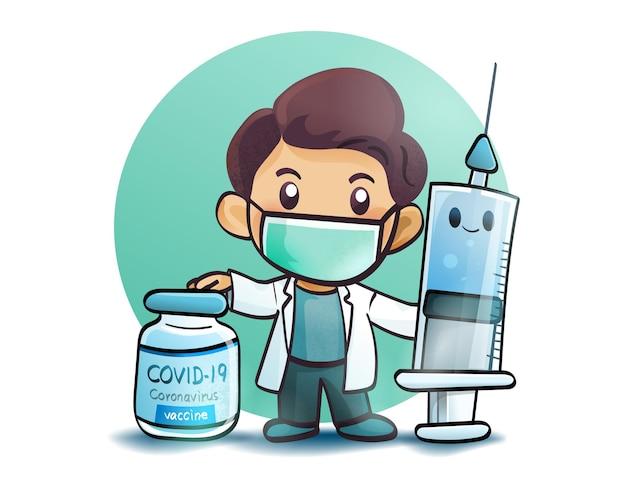 Arzt und coronavirus-impfstoff-coronavirus-injektionsspritze cartoon-kunstillustration premium-vektor premium