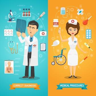 Arzt und krankenschwester banner