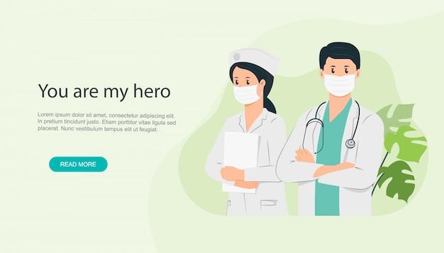 Arzt und krankenschwester ist ein held
