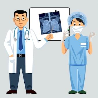 Arzt und krankenschwester mit lungenröntgen