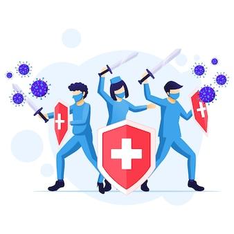 Arzt und krankenschwestern kämpfen erneut covid-19 corona virus konzept illustration Premium Vektoren