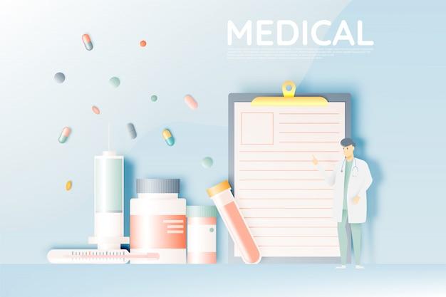 Arzt und medizin in pastellfarben