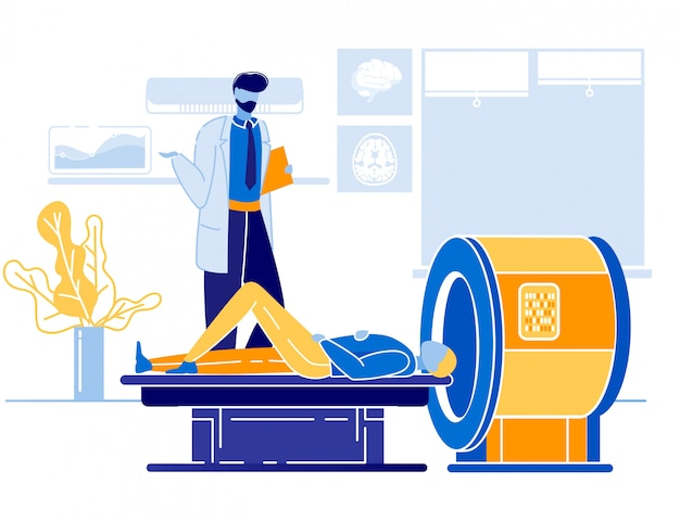 Arzt und patient bei mrt oder ct scanner cartoon