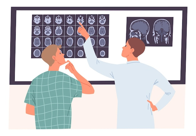 Arzt und patient betrachten einen mrt-scan des gehirns.