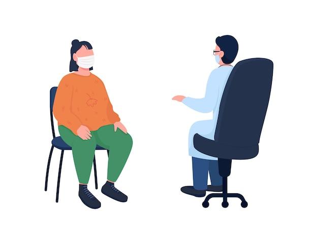 Arzt und patient in maske flache farbe gesichtslosen zeichensatz klinische diagnose krankenhausbesuch gesundheitswesen isolierte cartoon-illustration