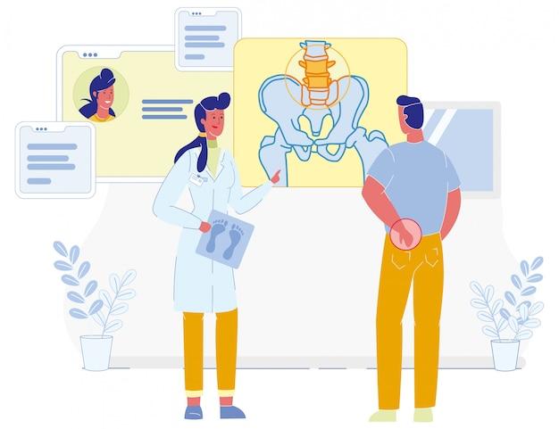 Arzt und patient leiden unter rückenschmerzen