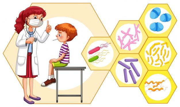 Arzt und patient mit virus
