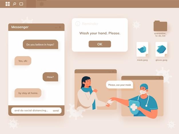 Arzt und patient unterhalten sich, gespräch über coronavirus