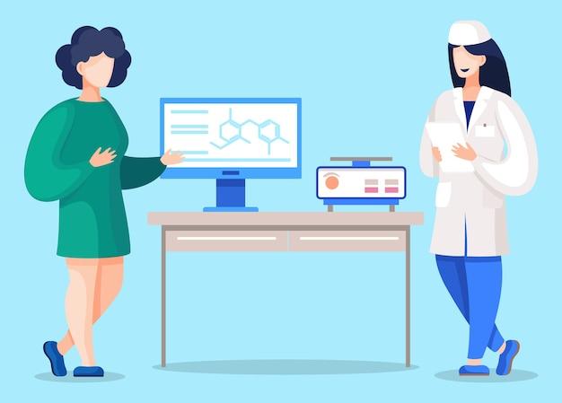 Arzt und praktikant im labor