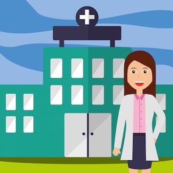 Arzt weibliches personal professionelles krankenhausgebäude