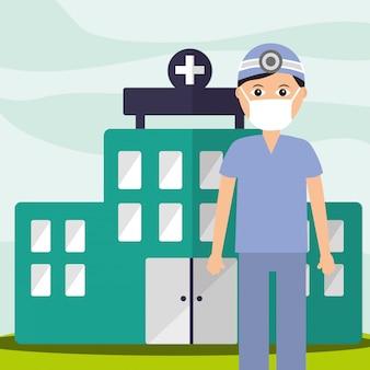 Arzt zahnarztpersonal professionelles krankenhausgebäude