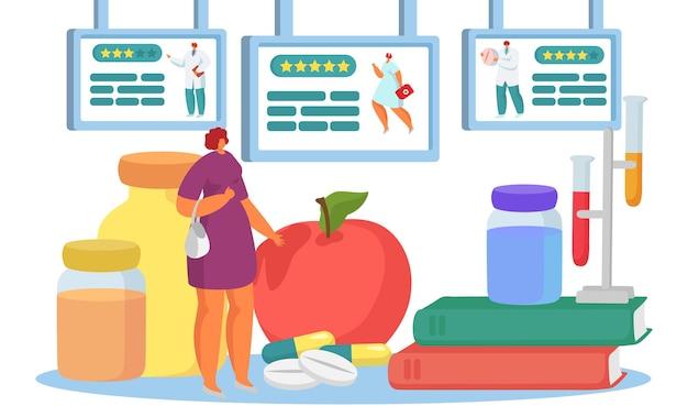 Arztbewertung online konzept vektorillustration patientenfrau charakter wählen ärztlichen dienst in i...