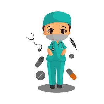 Arztcharakter in weißer medizinischer gesichtsmaske. coronavirus. mediziner.