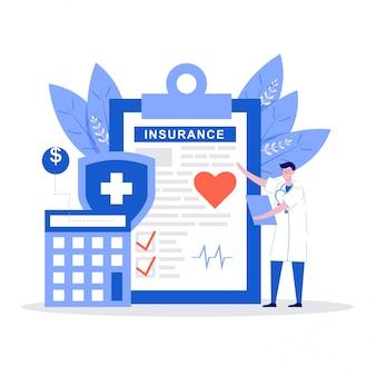 Arztcharaktere stehen in der nähe des krankenversicherungsvertrags. gesundheitskonzept.