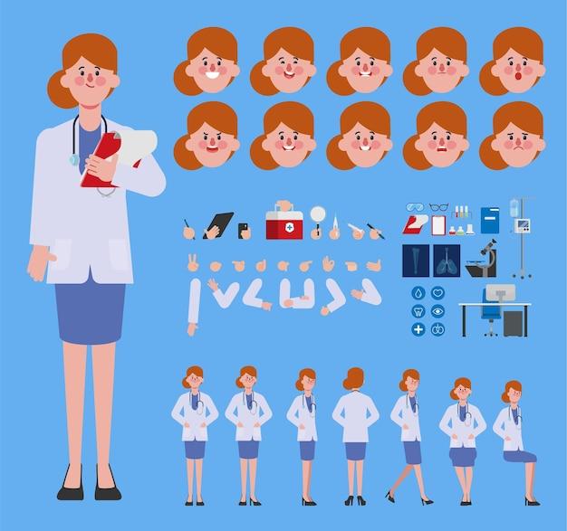 Arztfrau charaktererstellung für animation bereit für animierte gesichtsgefühle und mund