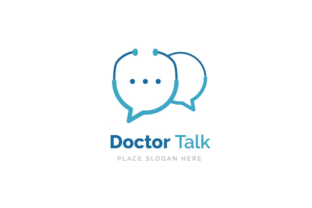 Arztgespräch logo-design-vorlage. stethoskop isoliert auf blasen-chat-symbol.