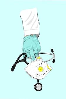 Arzthand, die stethoskop und medizinische maske hält. illustration des medizinischen inspektionskonzepts