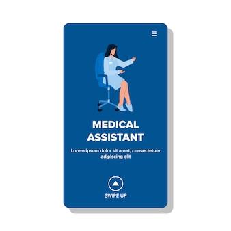 Arzthelferin, die auf stuhl vektor sitzt. arzthelferin, die in der rezeption der krankenhausmedizin arbeitet. charakter gesundheitswesen web-flache cartoon-illustration