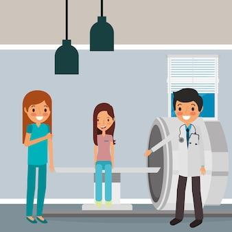 Arztkrankenschwester mit weiblichem patienten