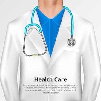 Arztmantel oder -kleid mit stethoskopillustration. gesundheits- und medizinisches konzept im krankenhaus